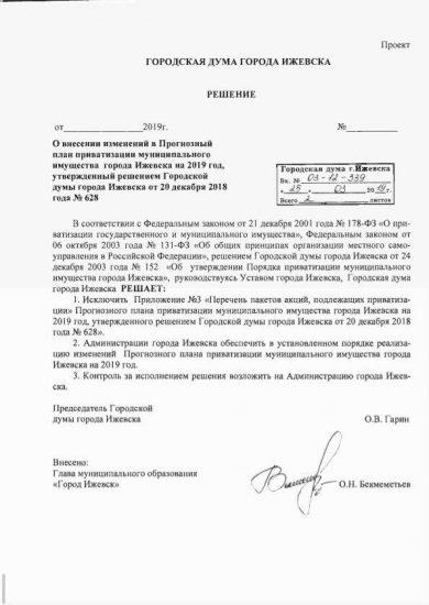 Гордума Ижевска решение